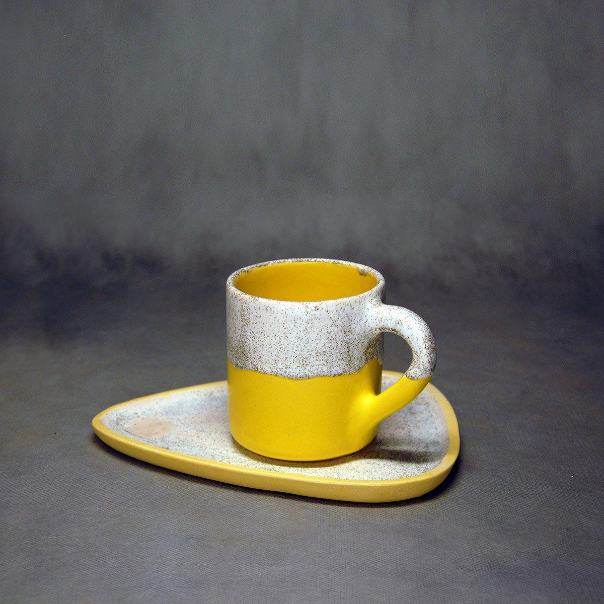 Molecule's Classic Yellow White Handle Mug