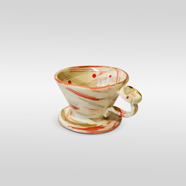 kalita 185 dripper - White Red Gold Brush Effect