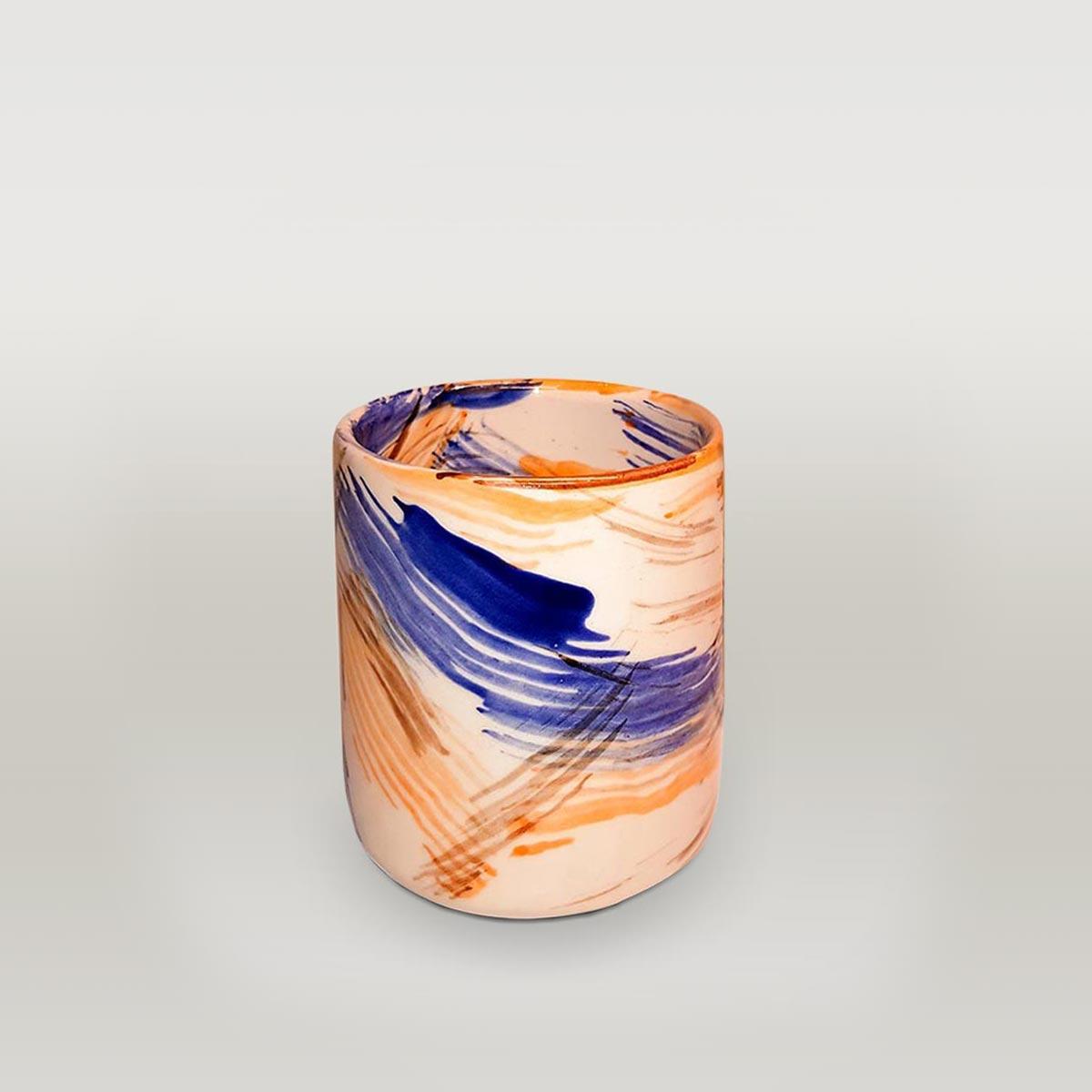White Blue Orange Brush Effect Mug