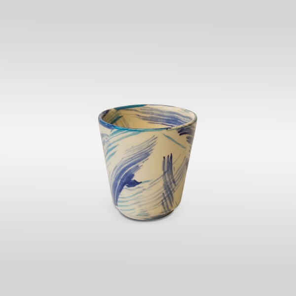 White Blue Brush Effect Mug