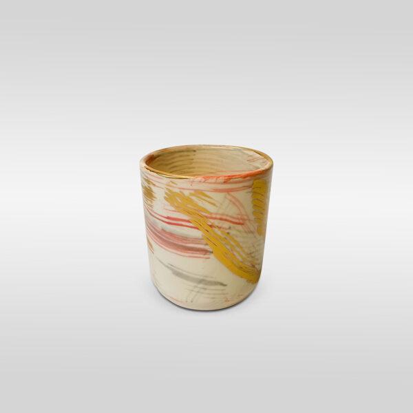 White Red Gold Brush Effect Mug
